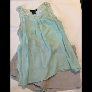 JUST IN Beautiful Mint Green Boho Lace Top S